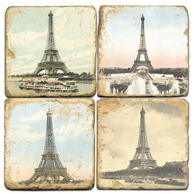 Eiffel Tower Coaster Set. Handmade Marble Giftware by Studio Vertu.
