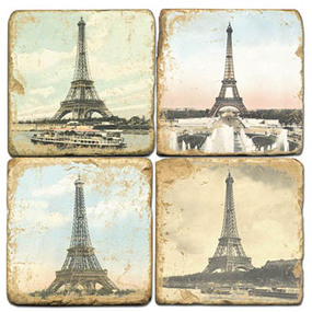 Eiffel Tower Coaster Set. Handmade Marble Giftware by Studio Vertu.