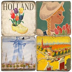 Vintage Holland Coaster Set. Handmade Marble Giftware by Studio Vertu.
