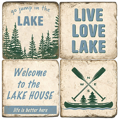 Lake House Themed Coaster Set.  Handmade Marble Giftware by Studio Vertu.