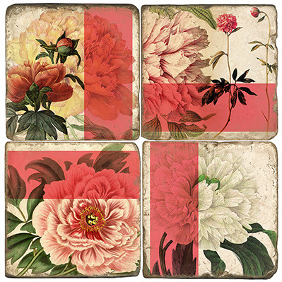 Peony Botanical Coaster Set. Handmade Marble Giftware by Studio Vertu.