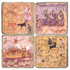 Roman Life Coaster Set. Handcrafted Marble Giftware by Studio Vertu.