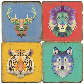 Colorful Wild Animals Set.  Handmade Marble Giftware by Studio Vertu.