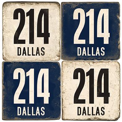 Dallas Area Code 214 Coaster Set. Handcrafted Marble Giftware by Studio Vertu.