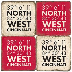 Cincinnati Coordinates Coaster Set.  Handmade Marble Giftware by Studio Vertu.