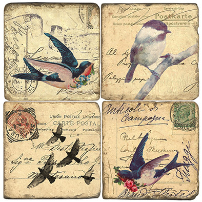 Vintage Birds Coaster Set. Handmade Marble Giftware by Studio Vertu.