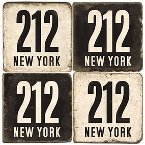 New York Area Code 212 Coaster Set.  Handmade Marble Giftware by Studio Vertu.