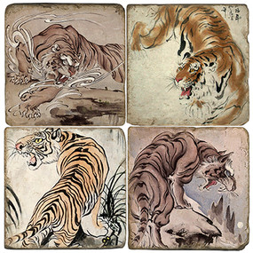 Asian Tiger Coaster Set. Handcrafted Marble Giftware by Studio Vertu.