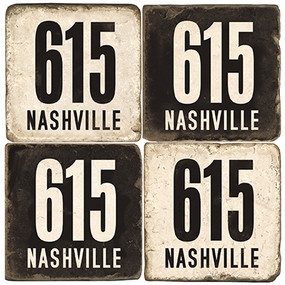 Nashville 615 Area Code Coaster Set