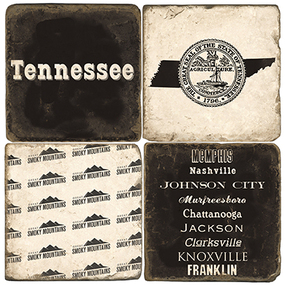 Tennessee Coaster Set. Handmade Marble Giftware by Studio Vertu.