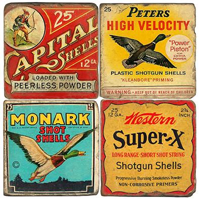Vintage Shotgun Shell Coaster Set