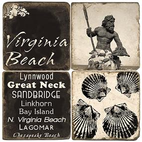 Black & White Virginia Beach Coaster Set