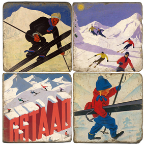 Vintage Swiss Ski Coaster Set