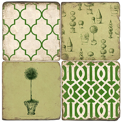 French Topiary Coaster Set