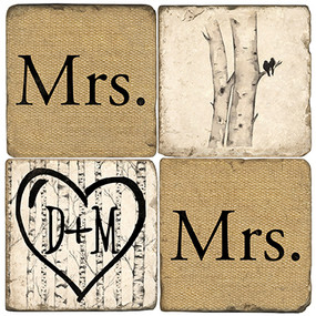 Mrs. & Mrs. Name Drop Coaster Set