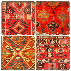 Colorful Kilim pattern coaster set