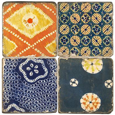 Colorful Shibori pattern coaster set