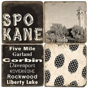 Black & White Spokane, WA Coaster Set