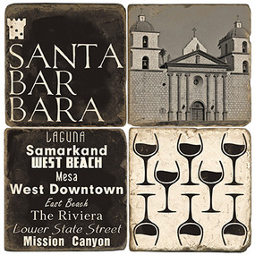 Black & White Santa Barbara Coaster Set