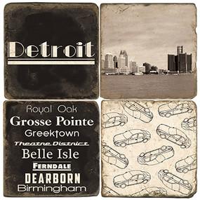 Black & White Detroit Coaster Set