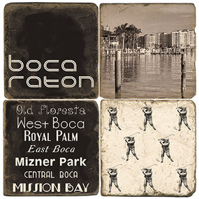 Black & White Boca Raton Coaster Set