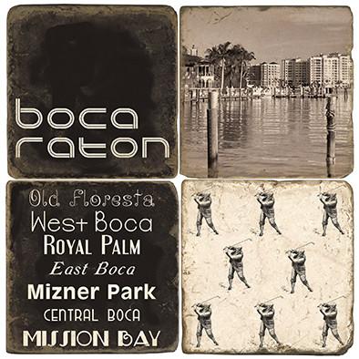 Black & White Boca Raton Coaster Set