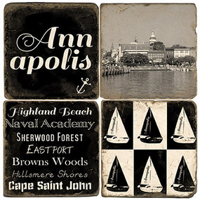 Black & White Annapolis, Maryland coaster set.