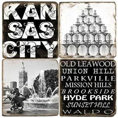 Black & White Kansas City Coaster Set