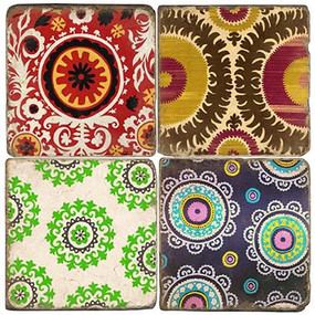 Suzani Pattern Coaster Set