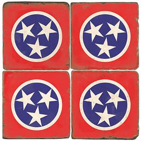 Tennessee Flag Coaster Set. Handmade Marble Giftware by Studio Vertu.
