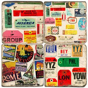 Luggage tag coaster set.