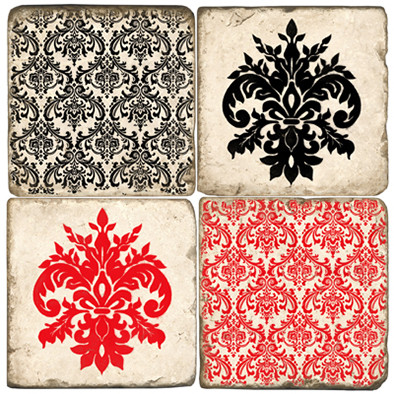 Red and Black Damask Pattern Coaster Set