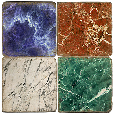 Marble Patterns Coaster Set Printed on Italian Marble