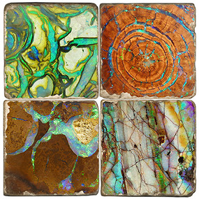 Opal Pattern Coaster Set Printed on Italian Marble