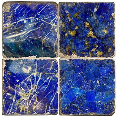 Lapis Lazuli Pattern Coaster Set Printed on Italian Marble