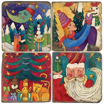 Winter Holiday Coaster Set