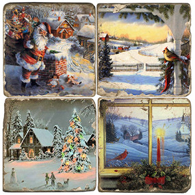 Vintage Christmas Themed Coaster Set