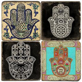 Hamsa Hand Coaster Set.  Tumbled Italian Marble Giftware by Studio Vertu.