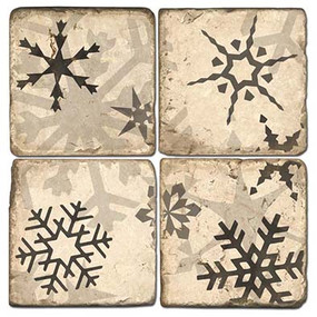 Black and White Snowflake Coaster Set