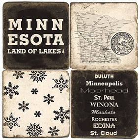 Black & White Minnesota Coaster Set