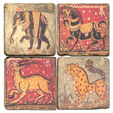 Illustrated Animal Coaster Set