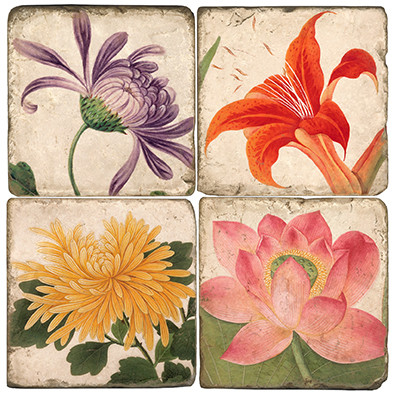 Colorful Floral Coaster Set