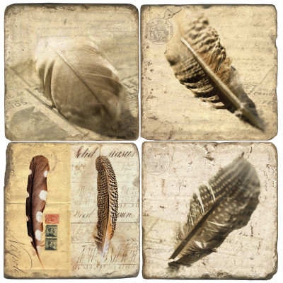 Bird Feather Coaster Set