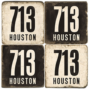Black and White Texas Area Code 713 Coaster Set.