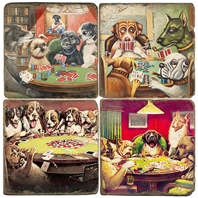 Poker Dogs Coaster Set