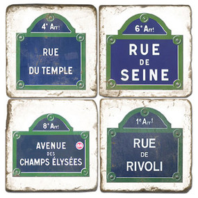Paris Street Sign Coaster Set. Handmade Marble Giftware by Studio Vertu.