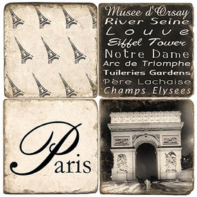 Black & White Paris Coaster Set. Handmade Marble Giftware by Studio Vertu.