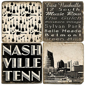 Black & White Nashville Coaster Set. Handmade Marble Giftware by Studio Vertu.