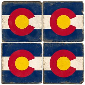 Colorado Flag Coaster Set. Handmande Marble Giftware by Studio Vertu.
