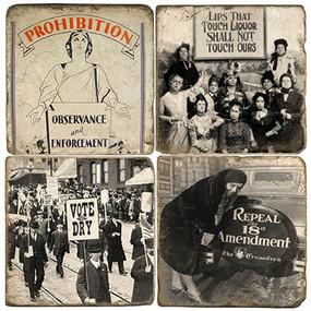 Prohibition Coaster Set. Handmade Marble Giftware by Studio Vertu.